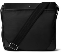 Sartorial Textured Leather-Trimmed Shell Messenger Bag