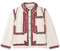 Embroidered Linen and Cotton-Blend Jacket