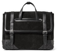 Leather And Shearling-trimmed Suede Holdall