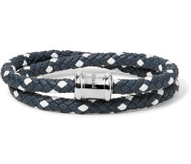 Double Casing Woven Leather Stainless Steel Bracelet