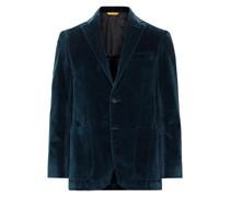 Kei Slim-Fit Unstructured Textured Cotton-Velvet Blazer
