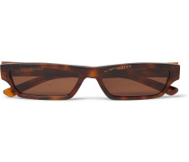 Rectangle-Frame Logo-Print Tortoiseshell Acetate Sunglasses