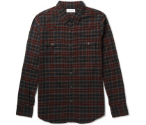 Slim-fit Checked Cotton-flannel Western Shirt