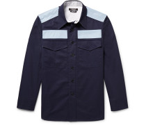 Slim-fit Two-tone Cotton-twill Shirt