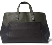 Colour-block Leather Tote Bag