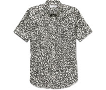 Brad Slim-fit Button-down Collar Leopard-print Cotton Shirt