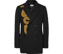 Black Brodie Slim-fit Appliquéd Wool-blend Blazer