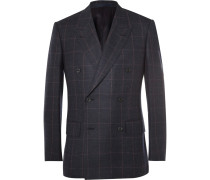 Blue Slim-fit Double-breasted Windowpane-checked Wool Suit Jacket