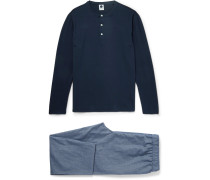 Sleepwell Stretch-cotton And Chambray Pyjama Set