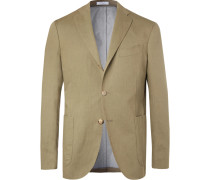 Olive Linen And Cotton-blend Twill Blazer