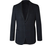 Navy Prince Of Wales Checked Cotton And Linen-blend Blazer - Navy
