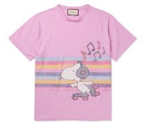 Oversized Printed Mélange Linen T-shirt