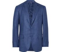 Blue Madrid Unstructured Silk And Cashmere-blend Hopsack Blazer