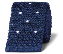 6cm Polka-dot Knitted Linen And Mulberry Silk-blend Tie