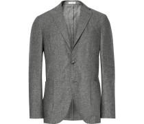 Grey K-jacket Slim-fit Slub Silk And Linen-blend Blazer