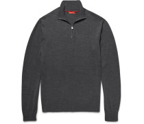 Elbow-patch Merino Wool Half-zip Sweater