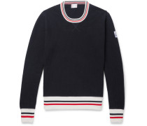 Stripe-trimmed Waffle-knit Cotton Sweater