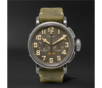 Heritage Pilot Ton-up 45mm Stainless Steel And Oiled-nubuck Chronograph Watch