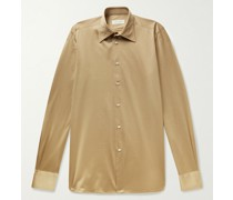 Luigi Slim-Fit Striped Silk-Jacquard Shirt