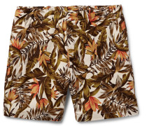 Wide-leg Printed Cotton And Linen-blend Shorts