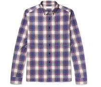 Elton Button-down Collar Checked Cotton-poplin Shirt