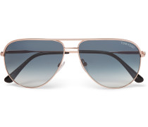 Aviator-style Rose Gold-tone Sunglasses
