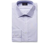Light-blue Slim-fit Striped Cotton Oxford Shirt