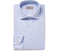 Light-blue Slim-fit Cutaway-collar Striped Cotton Shirt