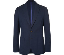 Blue Slim-fit Unstructured Merino Wool Blazer