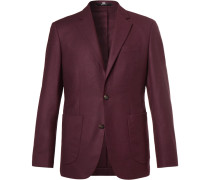 Plum Slim-fit Unstructured Cashmere Blazer