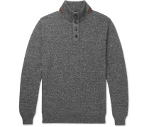Suede-trimmed Mélange Cotton Sweater