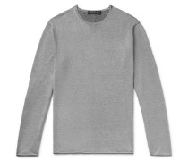 Trent Contrast-Tipped Merino Wool, Cotton and Linen-Blend Sweater