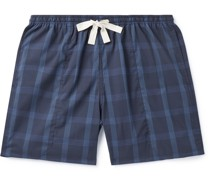 Holiday Wide-Leg Checked Cotton-Ripstop Drawstring Shorts