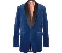 Blue Slim-Fit Silk Satin-Trimmed Cotton-Blend Velvet Tuxedo Jacket