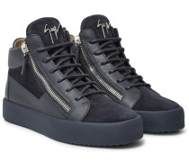 Leather And Suede High-top Sneakers