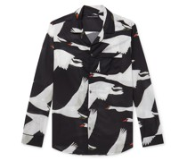 Leda Camp-Collar Piped Printed Cotton Pyjama Shirt