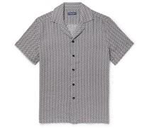 Beam Camp-Collar Printed Linen Shirt