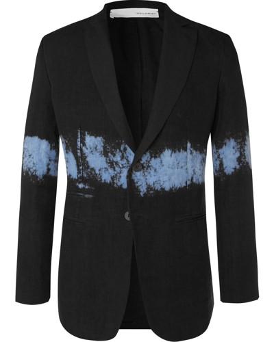 Black Slim-Fit Dip-Dyed Unstructured Linen Blazer