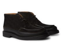 Jacques Leather-Trimmed Suede Desert Boots