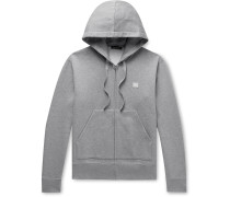 Logo-Appliquéd Mélange Fleece-Back Cotton-Jersey Zip-Up Hoodie