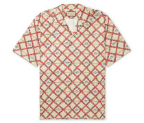 Oversized Camp-Collar Printed Paper-Effect Crinkled-Shell Shirt