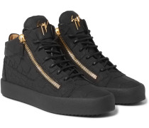 Rubberised Croc-effect Leather High-top Sneakers
