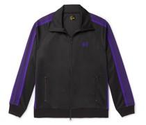 Logo-Embroidered Webbing-Trimmed Tech-Jersey Track Jacket