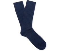 Ribbed Wool-Blend Socks