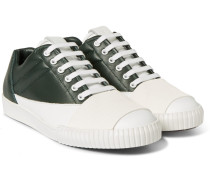 Rubber-panelled Leather Sneakers