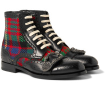 Embellished Leather And Tartan Tweed Brogue Boots