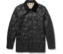 Brit Leather And Corduroy-trimmed Quilted Shell Jacket