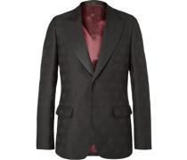 Faille-Trimmed Logo-Jacquard Wool and Silk-Blend Tuxedo Jacket