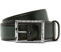 3.5cm Green Classic Leather Belt