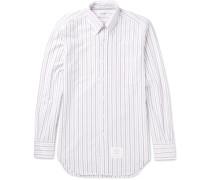 Slim-fit Button-down Collar Striped Cotton Oxford Shirt